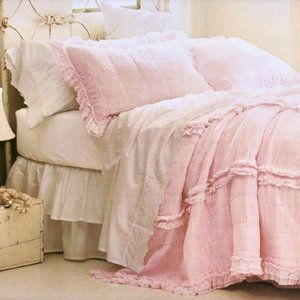 NEW Pink Raw Edge Cotton Gauze Quilt King